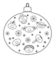 christmas glass ball with faces contours vector image vector image