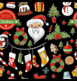 christmas holiday pattern with santa bells vector image vector image