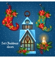 Christmas ornament boots and house candle holder vector image