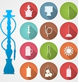 Colored icons for hookah and accessories vector image vector image