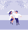 couple sitting park chair avatar character vector image