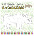 cute cartoon rhinoceros silhouette for color book vector image