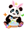 Cute Panda with Easter basket vector image vector image