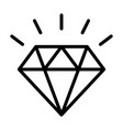 diamond gemstone with sparkle line icon vector image vector image