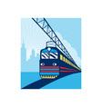 Electric passenger train city skyline vector image vector image