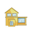 front view of wooden eco house exterior rural vector image vector image