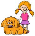 girl with shaggy dog cartoon vector image