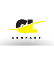gl g l black and yellow letter logo with swoosh vector image