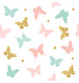 glitter pastel pink and blue butterflies seamless vector image