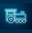 glowing neon line retro train icon isolated on vector image vector image