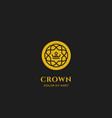 gold line crown logo with line outline pattern vector image vector image