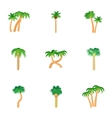 Green palms icons set cartoon style vector image vector image
