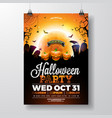 halloween party flyer with vector image vector image