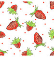 hand drawn seamless pattern with strawberry vector image vector image