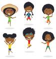 happy african-american cartoon girsl jumping vector image vector image