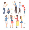 happy people launching fireworks set people of vector image vector image