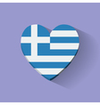 Heart-shaped icon with flag of Greece vector image