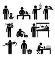 human and pets pictograph a set of pictograph vector image