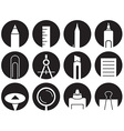 icons stationery in circles vector image vector image