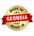 made in Georgia gold badge with red ribbon vector image vector image