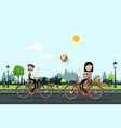 man and woman riding bikes in city park vector image vector image