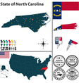 Map of North Carolina vector image vector image