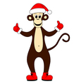 monkey dressed as Santa vector image vector image