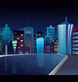 night cityscape with lake vector image vector image