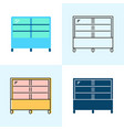 refrigerated display case icon set in flat and vector image