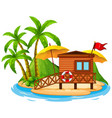 scene with wooden hut on beach on white