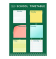 school timetable green pencil vector image