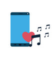 screen smartphone with play music isolated icon vector image