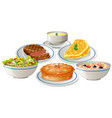 set of food on plate vector image