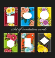 Set of invitation cards with colorful flowers vector image vector image