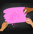 three female hands drawing with chalk vector image vector image