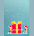 two little boys move a christmas gift vector image vector image