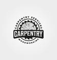 vintage carpentry logo design woodwork emblem vector image vector image