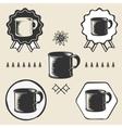 vintage steel enamel cup outdoor symbol emblem vector image vector image