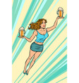 waitress carries beer flying superhero help vector image vector image