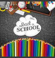 whiteboard with colored pencils and back to school vector image