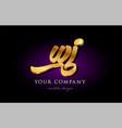 wi w i 3d gold golden alphabet letter metal logo vector image vector image