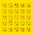 yellow set of smile icons emoji emoticons face vector image