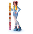 young woman in sports uniform holds mountain vector image vector image