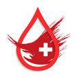 donate drop blood sign with cross vector image