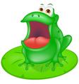 green frog sitting on green leaf vector image