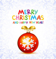 Red Christmas balls on snow background vector image