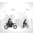 motorcyclis and cyclist urban background vector image