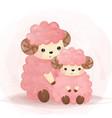 adorable lamb motherhood in watercolor vector image vector image