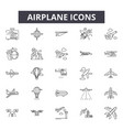 airplane line icons signs set outline vector image vector image