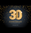 anniversary 30 gold 3d numbers vector image vector image